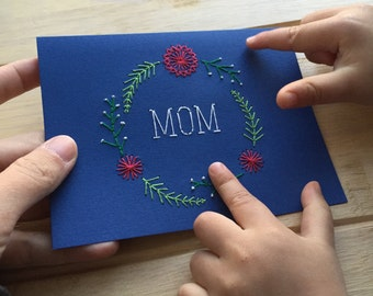 Embroidered Mother's Day Card - Mom Typography with Flower Wreath