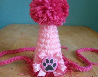 Cat or Dog Birthday Party Hat Pink Crocheted Pet Birthday Hat  X Small with Pawprint Button