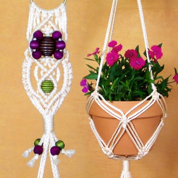 items similar to macrame pot holder white rope plant hanger 6 inch flower pot