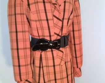 Vintage Lillie Rubin Jacket Blazer Orange and Black Plaid Print