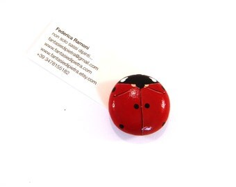 Red ladybug magnet - Hand painted rocks home decor spring