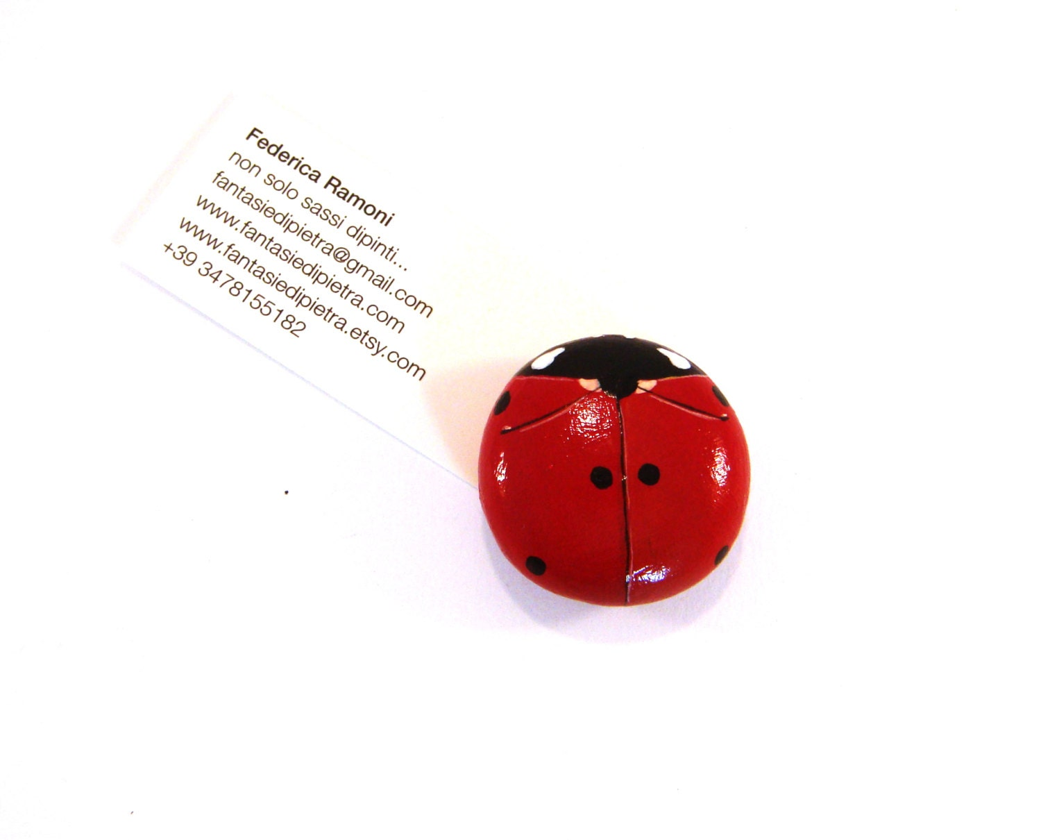Red Ladybug Magnet Hand Painted Rocks Home Decor Spring