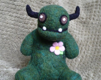 Moot the Fancy Monster, cute needle felted creature sculpture