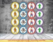 The Wiggles Inspired Cupcake toppers tags - Wags the dog , Henry the Octopus, Dorothy, Captain Feathersword