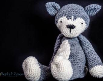 Wolf plush, wolf softie, amigurumi, baby toy, baby shower gift, crochet  grey wolf, husky plush