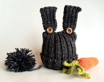 Gray baby bunny set, baby bunny beanie, baby bunny hat with carrot plush and pompom, photo prop