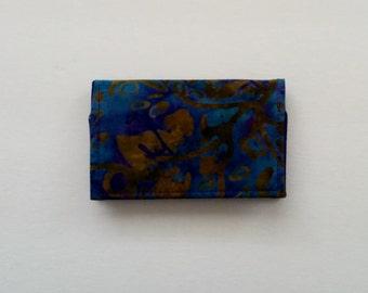 Blue Business Card Holder, Business Card Case, Fabric Business Card Holder, Blue Card Holder, Gift Card Holder