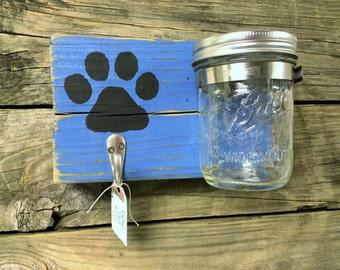 Personalized Dog Leash Holder, Pet Treat Jar, Dog Leash Hooks, Personalized Dog Lover Gift, Handmade Dog Leash Holder, Dog Station