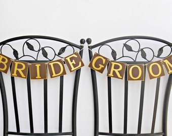 FREE SHIPPING, Bride & Groom banners, Chair signs, Wedding Banners, Bridal shower banner, Engagement party, Photo prop, Bachelorette decor