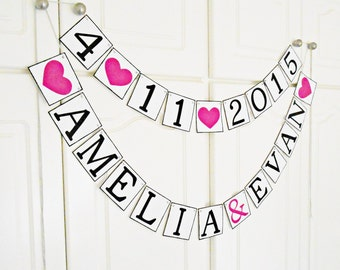 FREE SHIPPING, Personalized wedding banner, Save the date, Bridal shower banner, Engagement party, Custom name banner, Bachelorette party