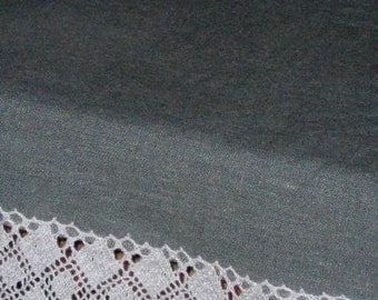 Asphalt gray linen and lace table runner washed wrinkled dark grey runner with lace