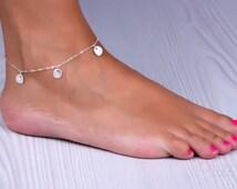 "Silver anklet, Charm anklet, silver disc bracelet, bridesmaid jewelry, sterling silver ankle bracelet, best friend bracelet,  ""Stheno"""