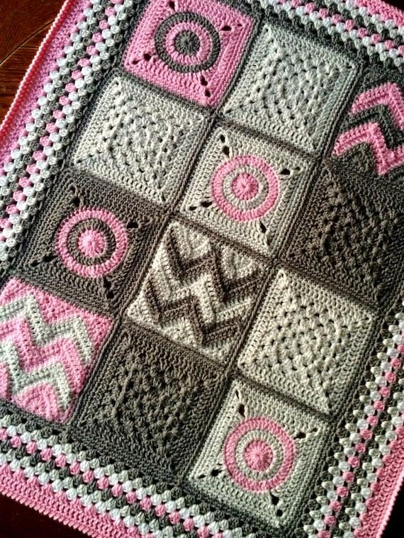 Modern Crochet Patterns For Baby Blankets : Pattern BabyLove Brand Modern Patchwork Blanket Crochet