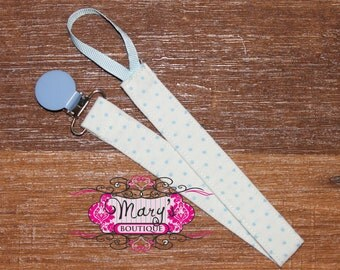 Baby Blue and White Polka Dot Pacifier Clip