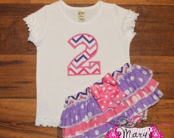 Purple and Pink Birthday Ruffled Bloomers and Shirt