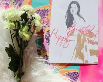 fashion illustration birthday card - Adriana