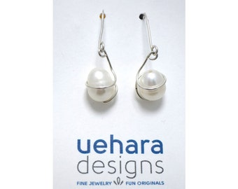 "Earrings, ""DIXIE CARTER"" Freshwater Pearl and Sterling Silver Earrings"