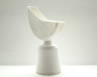 Abstract stoneware vessel made out of English fine bone china