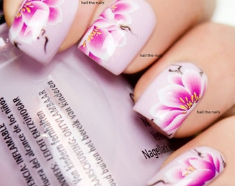 Nail Wraps Nail Art Nail Decals Water Transfers Pink Lotus Water Lily Salon Quality YD712