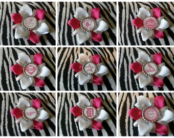 Sporty Bottlecap Baseball Mets Astros Yankees Phillies Cubs Sox Cardinals Tigers Dodgers Hot Pink Sparkly Hair Bow Clip