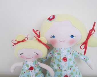 Big Sister/ Little Sister Dolls in Red and Aqua- Custom Made to Order