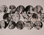 15 Black and White Marilyn Monroe Flatback or Pinback buttons 1 inch badge
