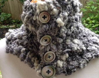 Chunky Knit Cowl with Vintage Abalone Buttons