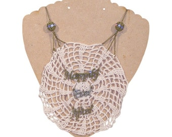 Happily Ever After Crochet Doily Necklace