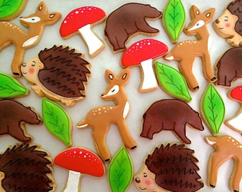 12 Vegan Woodland Themed Sugar Cookies