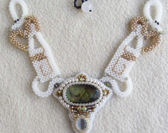 bead embroidered necklace      Labradorite cabs CRAW stitch   OOAK