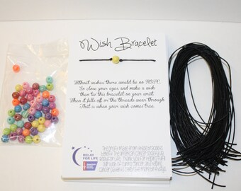 Relay For Life Wish Bracelet - Multi Color Fundraising DIY pack to make 50 - Ready To Ship