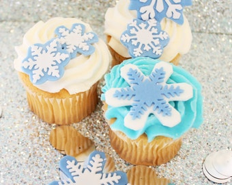 Edible Fondant Cupcake, Cake Toppers- 3 qty large 3 in. snowflakes,3 qty medium 2 in. snowflake,3 qty small 1 in. snowflakes,Frozen inspired