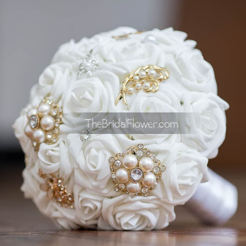 Gold And White Brooch Bouquet With White Roses By TheBridalFlower