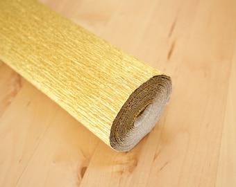 Metallic Gold Italian Crepe Paper Rolls 180 gms (50 x 250 cm) - Florist Gift Wrap Packaging Paper Crafts Supplies