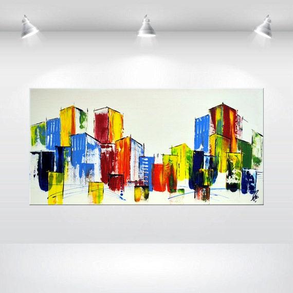 Articles similaires abstrait acrylique peinture color e skyline beaux arts contemporains tendu - Peinture abstraite coloree ...