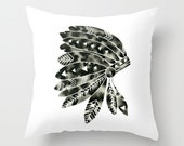 Pillow with Insert . Geometric Native American Indian Headdress Head Dress Home Decor . Watercolor Print Frabic . Modern Minimal Black White
