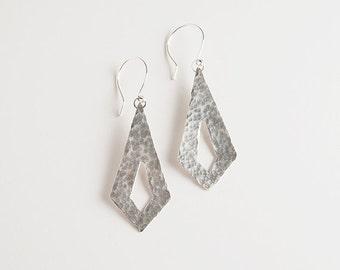 Hammered recycled silver, diamond shape earrings - Shimmer Earrings