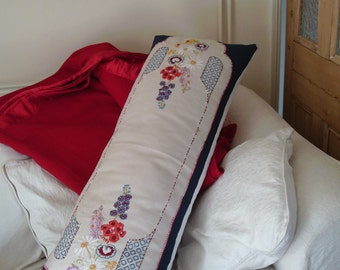 Vintage embroidery huge bolster cushion