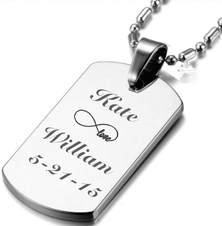 engraved men 39 s dog tag necklace personalized dog tag. Black Bedroom Furniture Sets. Home Design Ideas