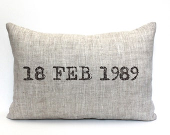 """wedding gift, engagement pillow, christmas gift, date pillow, anniversary gift, wedding shower gift, valentine - """"The Date"""""""