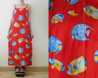 Red AQUARIUM dress, vtg Sea Punk maxi dress, fish print,spaghetti strap,sleeveless,summer,tropical,punk,indie,grunge,ocean,beach,kawaii, S-M