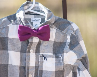 Maroon Bow Tie--Newborn-Toddler-Kids-Youth/Clip On Bow Tie