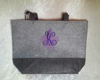 Colorblock Heavy Duty Felt Tote Bag with Personalized Monogram
