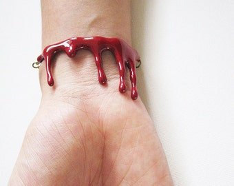 Bleeding Blood Bracelet / Red Enamel Jewelry / Punk Rock Adjustable Cuff / Woman Girl Fashion Unique Accessories