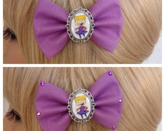 Angelica Rugrats hair bow clip rockabilly psychobilly kawaii pin up geek fabric purple dinosaur ladies girls tommy chucky cameo punk rock