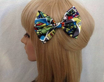 TMNT Teenage mutant ninja turtles hair bow clip rockabilly psychobilly pin up retro punk fabric Michaelangelo Raphael Leonardo Donatello