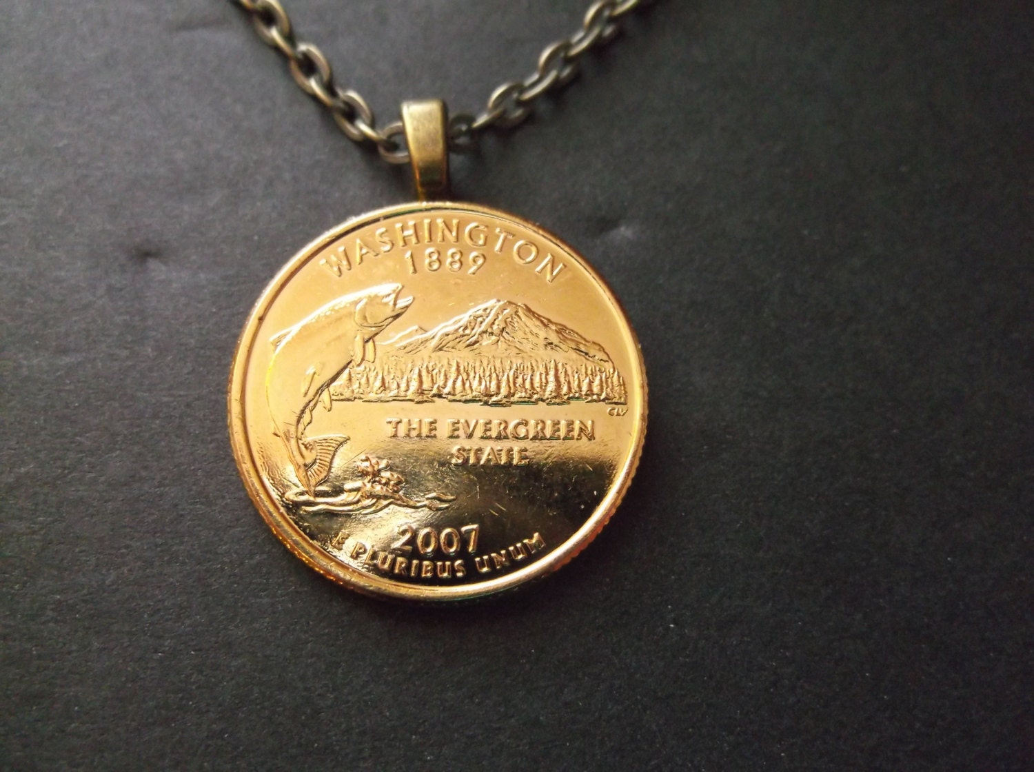 Washington United States Gold Colored Quarter Coin Necklace