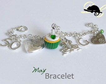 Your MAY Birthday Bracelet - Cupcake with candle, birthstone,letter,locket, and zodiac charm - Personalised (In Stock)