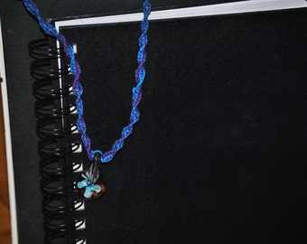 blue and purple glass and hemp necklace