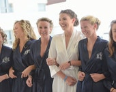 Triple initial Monogram Bridesmaid Robe Southern Style Embroidered Bride and Bridal Party Robes for Maid of Honor